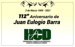 Saludo aniversario Juan E. Barra