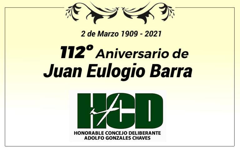 Saludo a la localidad de Juan Eulogio Barra